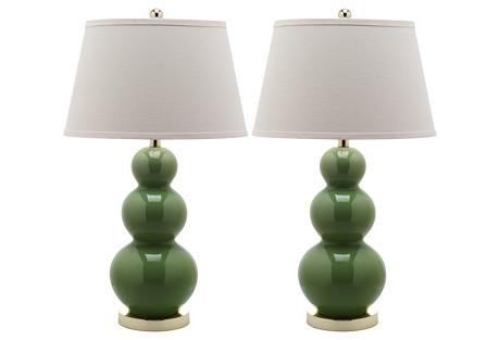 S/2 Pamela Gourd Lamp Set, Green