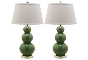S/2 Pamela Gourd Lamp Set, Green*