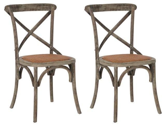 Gray Bonnie Side Chairs, Pair