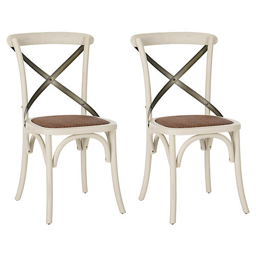 White Bonnie Chairs, Pair