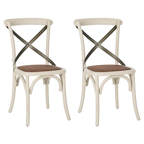 S/2 Bonnie Side Chairs, White/Black
