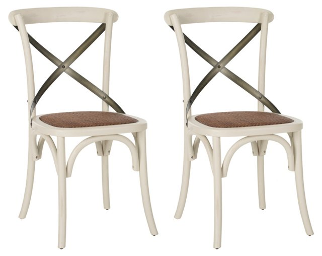 White Bonnie Dining Chairs, Pair