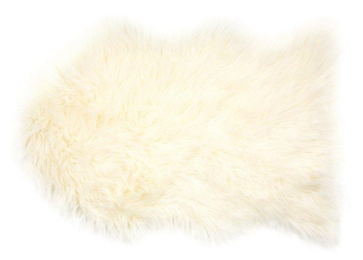 2'x3' Faux Sheepskin, Ivory