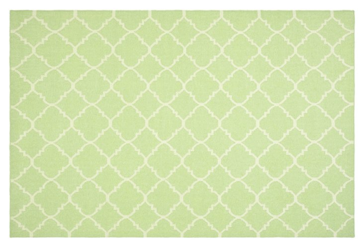 8' x 8' Delilah Dhurrie, Light Green