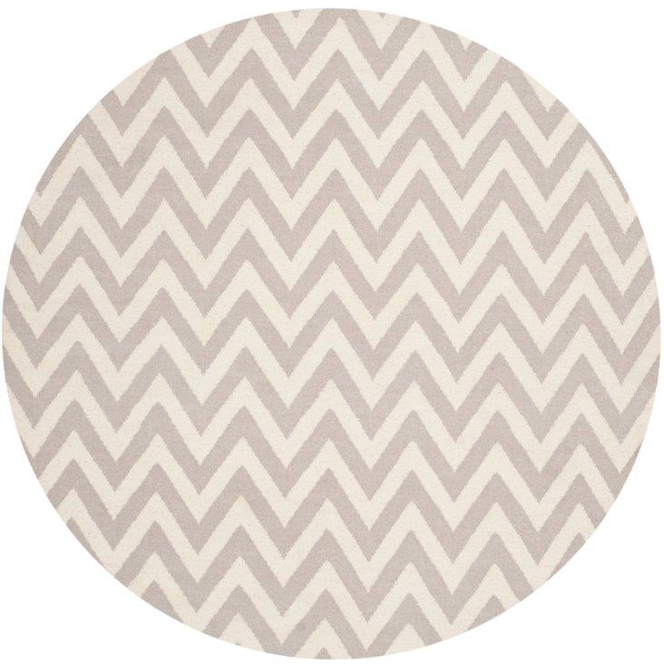 6' Round Noemi Dhurrie, Gray/Ivory