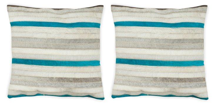 S/2 Striped Pillows, Multi