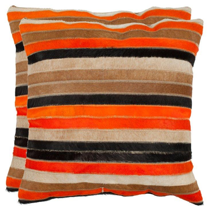 S/2 Quinn Pillows, Orange/Tan