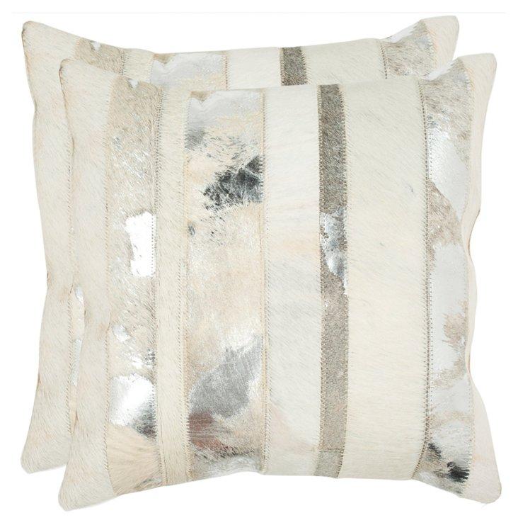 S/2 Stripe 18x18 Pillows, Silver