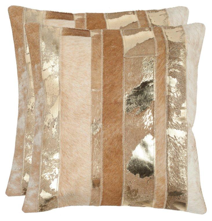 S/2 Lustre 18x18 Hide Pillows, Gold
