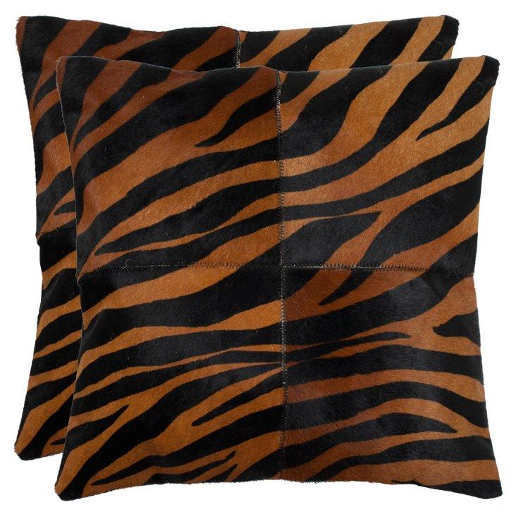 S/2 Tiger Pillows, Black/Brown