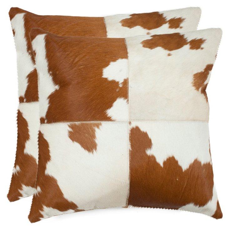 S/2 Range Pillows, Tan/White