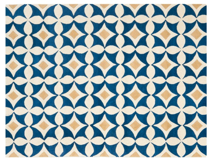 Benton Rug, Gold/Blue/Ivory