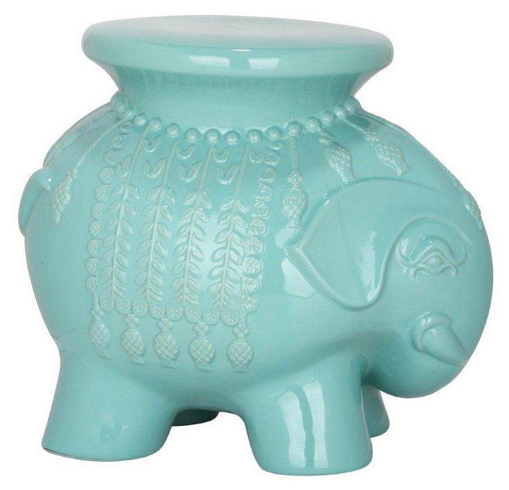 Ceramic Elephant Stool, Aqua
