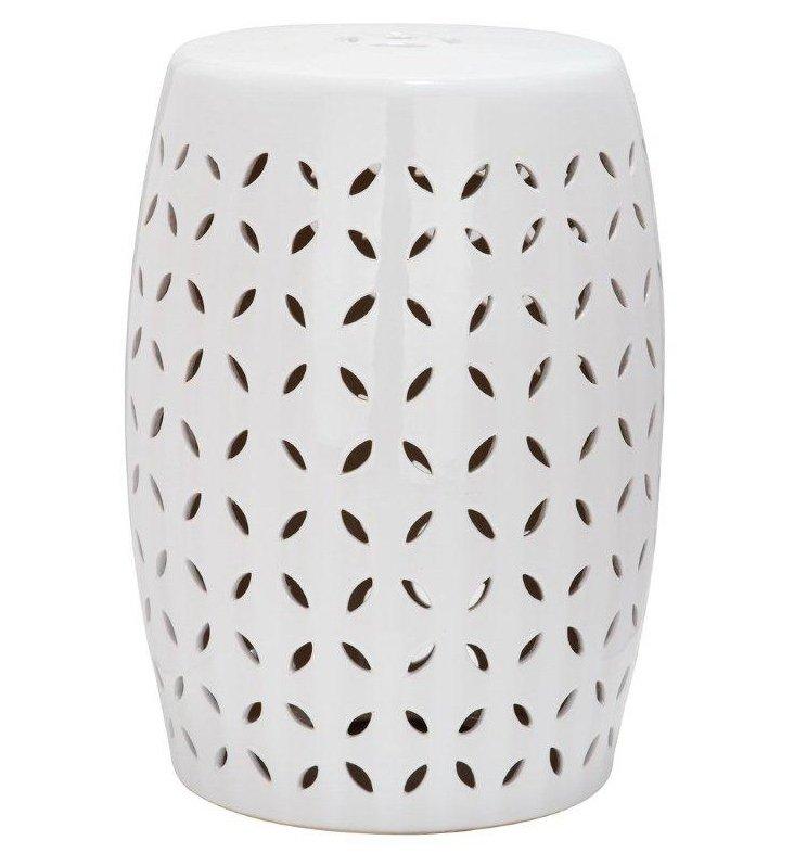 Malia Ceramic Garden Stool, White