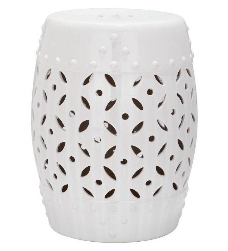Aurora Ceramic Garden Stool, White
