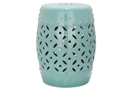 Aurora Ceramic Garden Stool, Teal