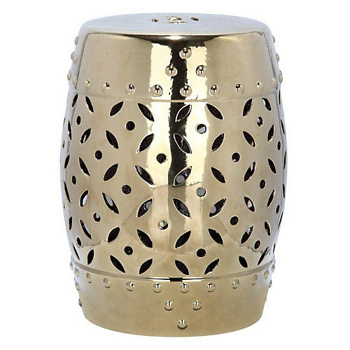 Aurora Ceramic Garden Stool, Gold