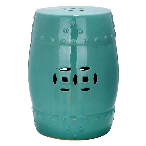 Naimh Ceramic Garden Stool, Teal