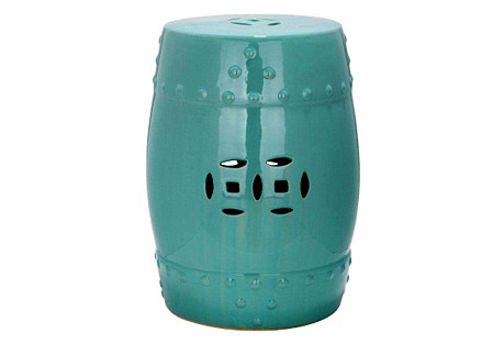 Naimh Ceramic Garden Stool, Teal*
