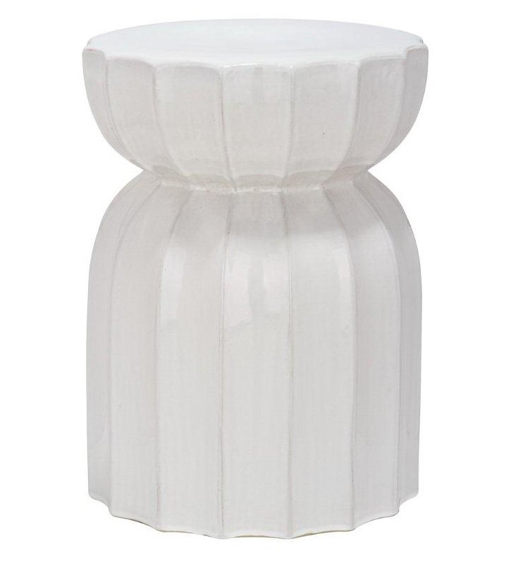 Marta Ceramic Garden Stool, White