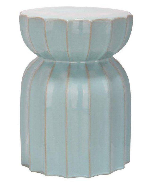 Marta Ceramic Garden Stool, Aqua