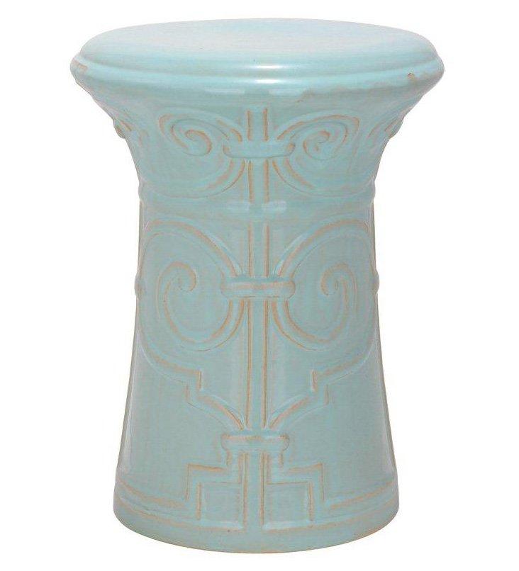 Tallulah Ceramic Garden Stool, Aqua