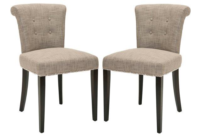 Light Gray Murphy Ring Chairs, Pair