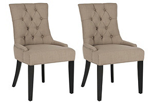 Linen Cameron Chairs, Pair*