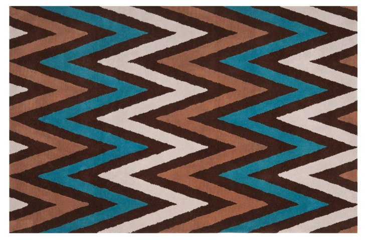 Duncan Rug, Cocoa/Teal/Multi