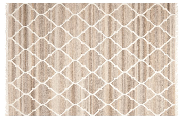 3'x5' Horace Flat-Weave Rug, Gray/Ivory