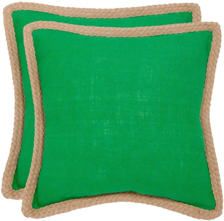 S/2 Sorona 18x18 Jute Pillows, Green