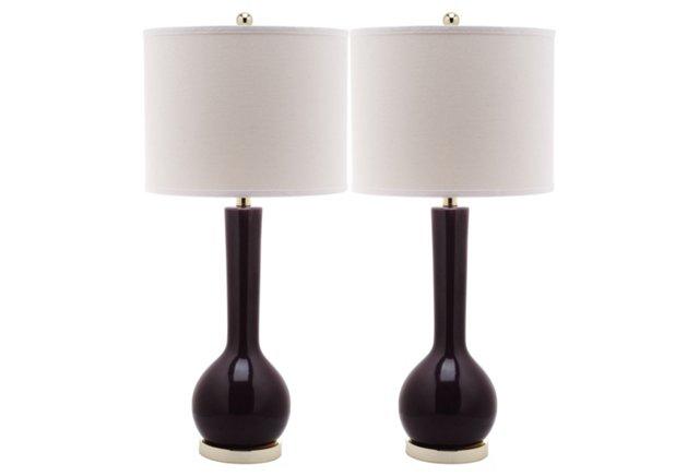 Ava Table Lamp Set, Deep Purple