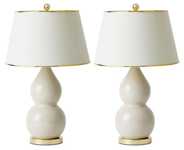 Jill Double-Gourd Lamp Set, Talc