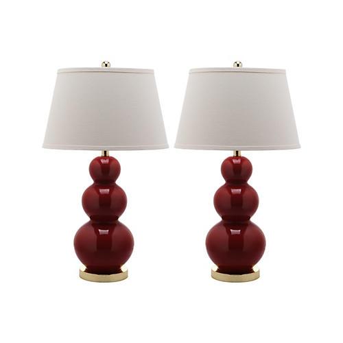 S/2 Pamela Gourd Lamp Set, Red
