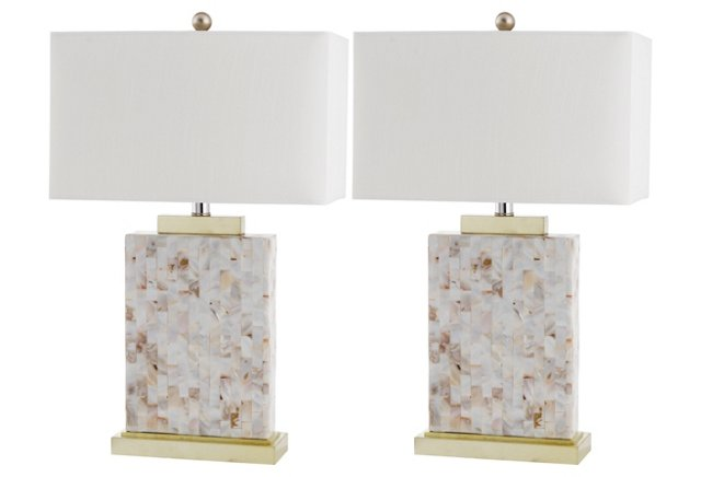 Tory Table Lamp Set, Shell