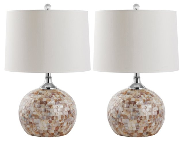Nikki Table Lamp Set, Shell