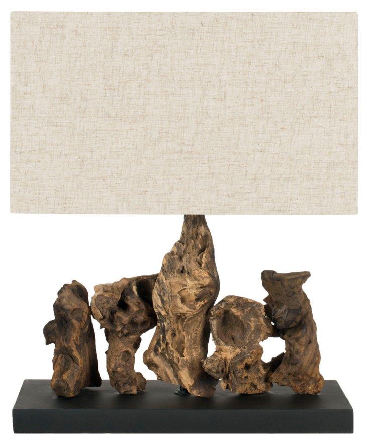 Aragon Table Lamp, Dark Root Wood