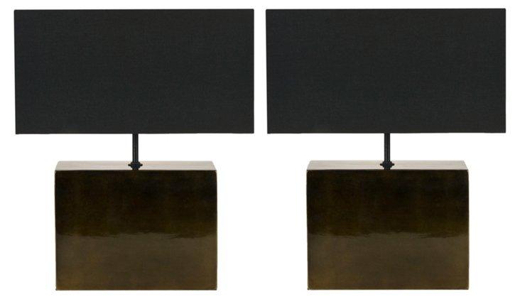 Metallic Table Lamp Set, Dark Gray