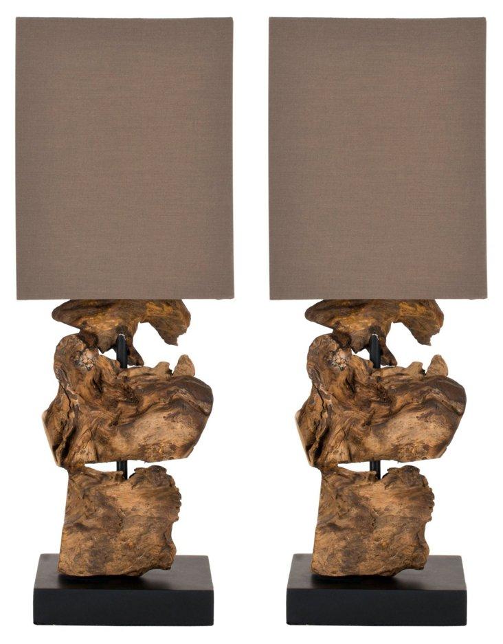 Oregon Table Lamp Set, Brown