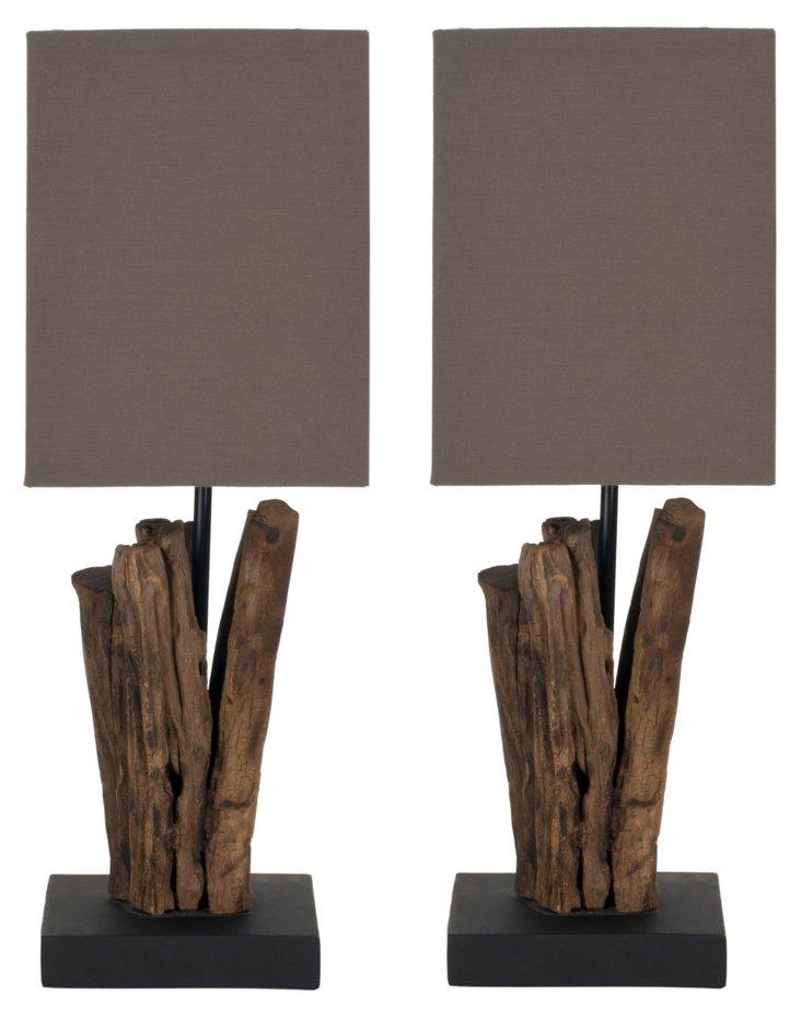 Hearst Wood Table Lamp Set, Dark Brown