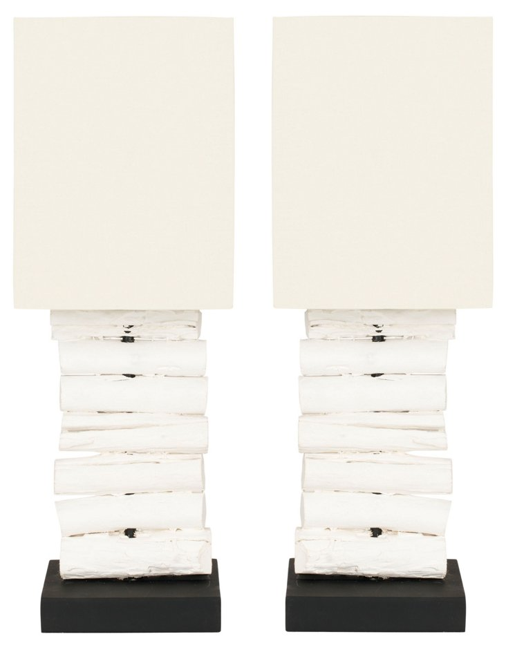 Columbia Table Lamp Set, Whitewash