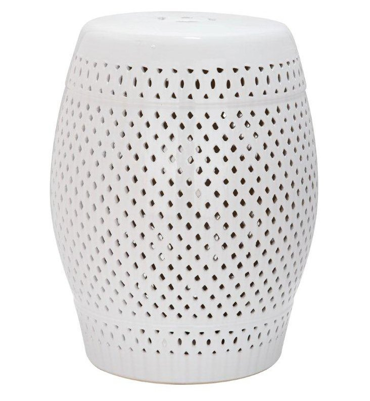 Eira Ceramic Garden Stool, White