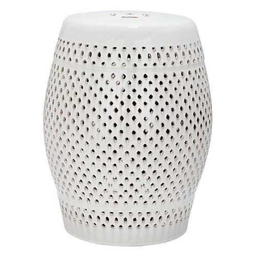 Eira Ceramic Garden Stool, Cream
