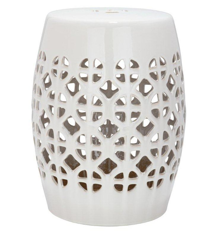 Janera Ceramic Garden Stool, Cream