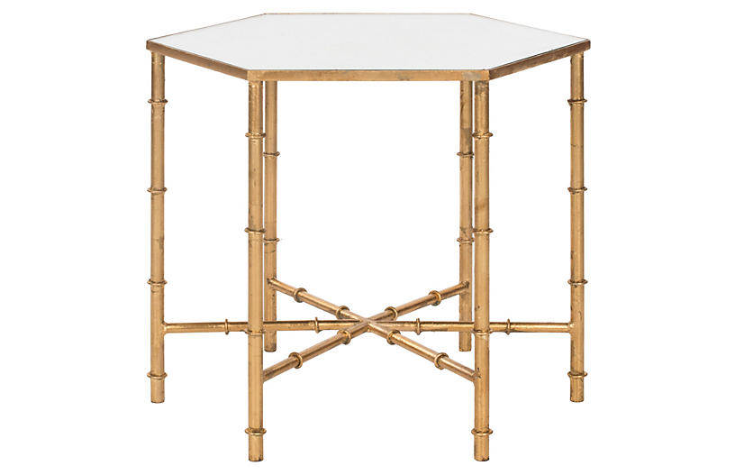 Ashton Side Table, Gold/Clear