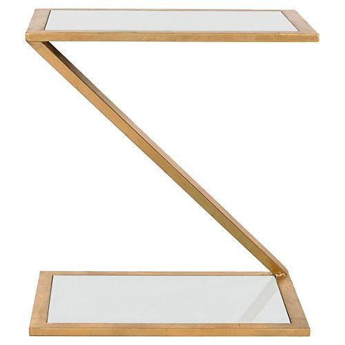 Webb Side Table, Gold/White