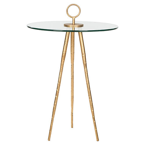 Wyatt Glass Side Table, Gold