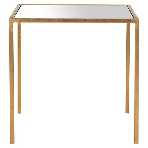 Hayden Side Table, Gold/Mirror