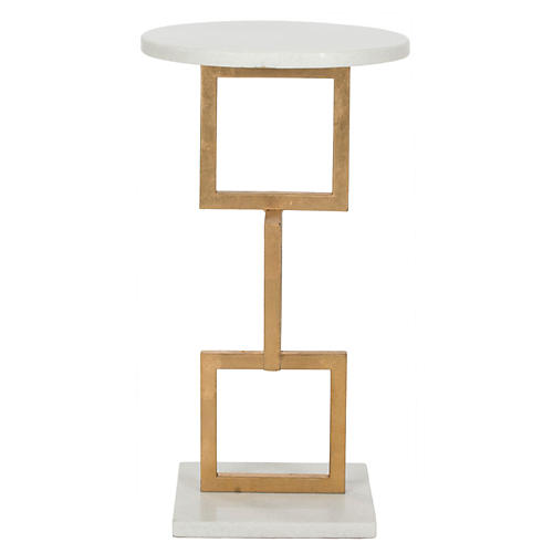 Mattias Side Table, Gold/White