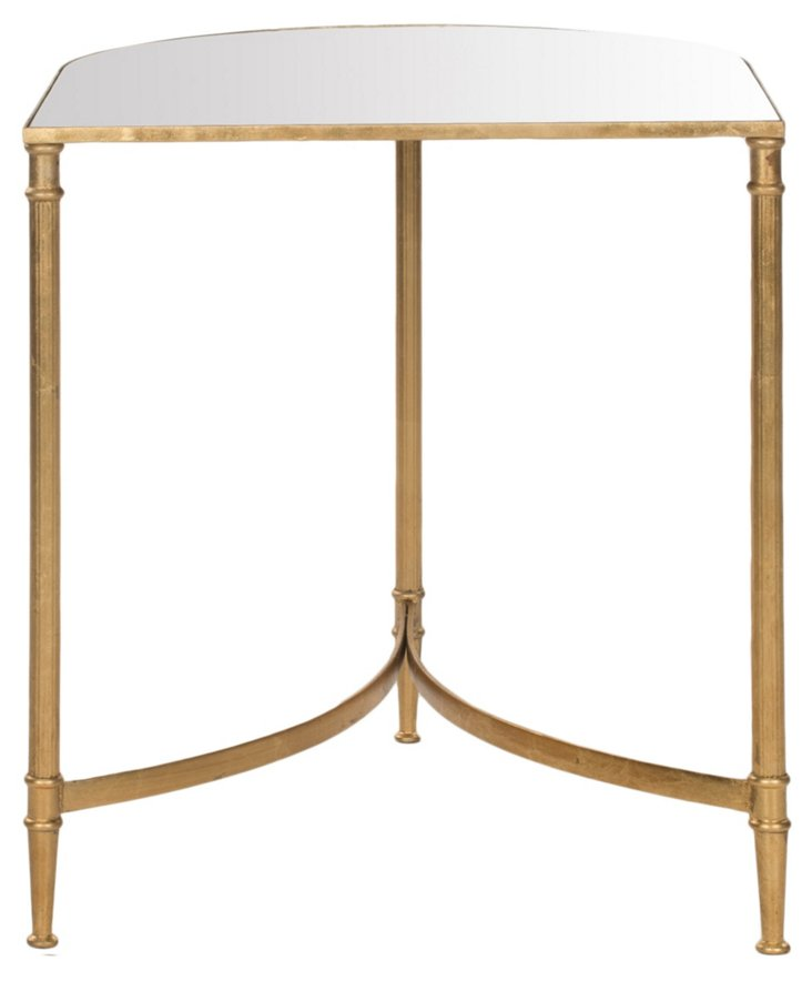 Edna Mirrored-Glass Side Table, Gold